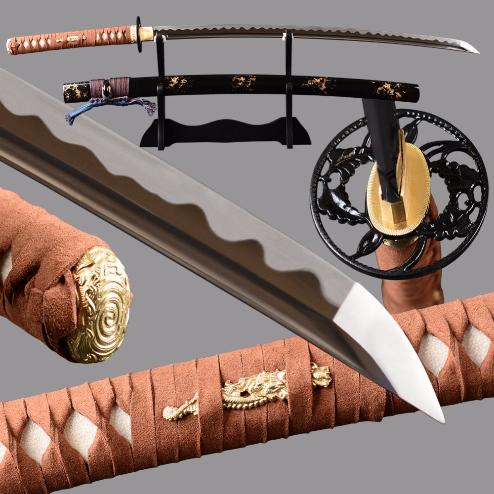Brandon Swords 1095 Carbon Steel Sharp Japanese Sword Full Tang Battle Samurai Katana Wave Hamon Blade Combat Knife Nice Decor