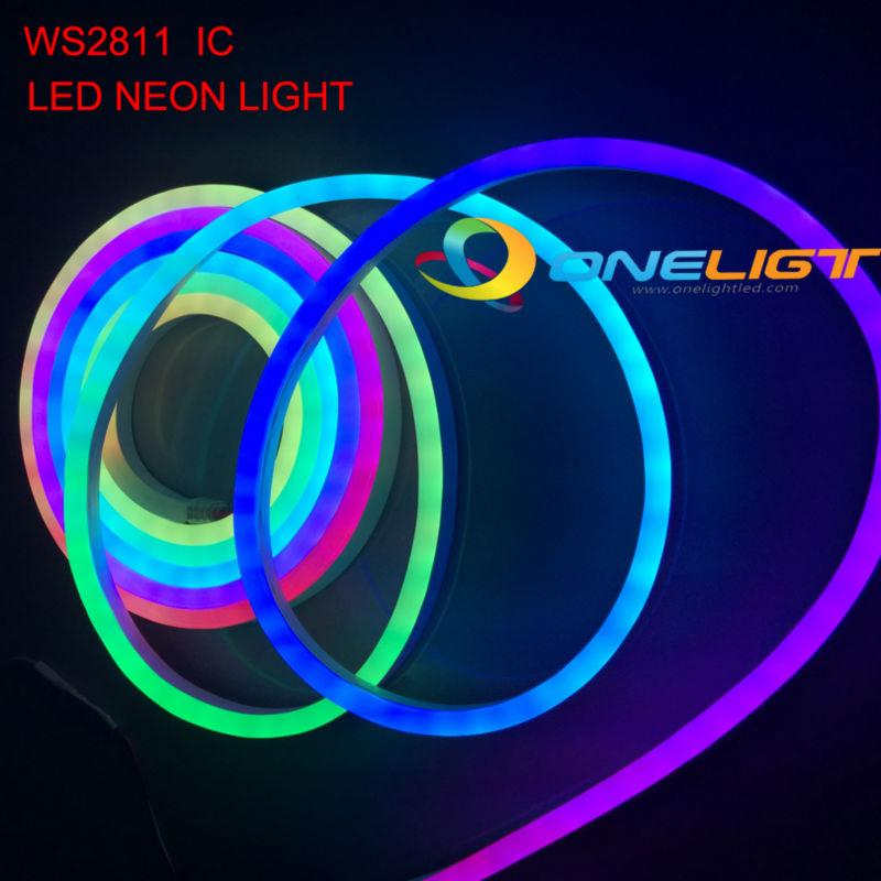 Impermeable Flex luz de neón LED WS2811 Flexible LED cuerda luces SMD 5050 IC DMX512 cambiable LED tira de luz DC12V DC24V IP65