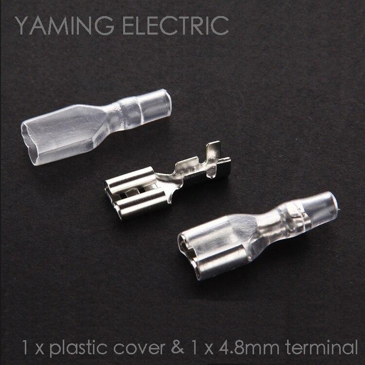 Conector pá feminino 50 set/saco 4.8mm, terminal de crimpagem splice conector fêmea com estojo frio terminal com bainha transparente