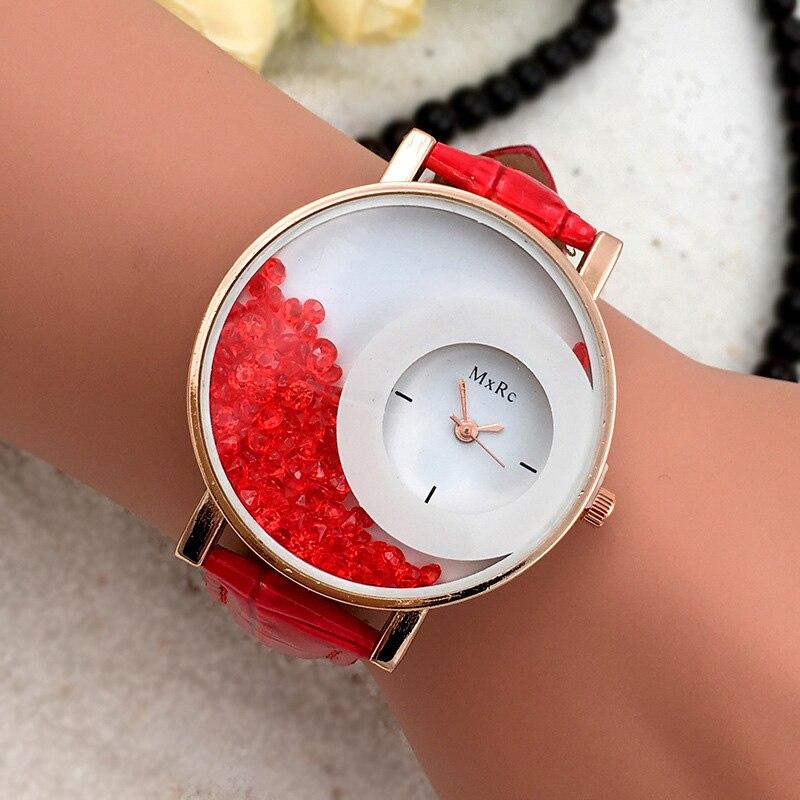 Reloj de cuarzo para mujer a la moda con esfera de diamantes de imitación PU reloj de pulsera con Correa de cuero regalos de joyería LL @ 17