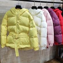 2020 Winter Coat Women Slim Hooded 90% White Duck Down Jacket With Belt Female Down Parka Thick Warm Winter Jacket  Snow Outwear