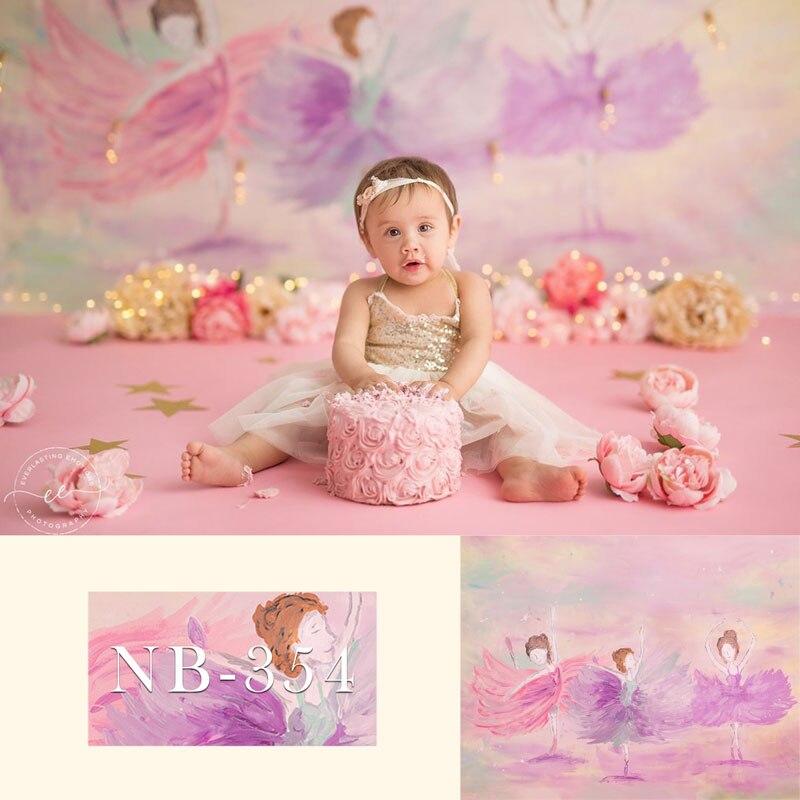 Newborn Baby Shower Photography Backdrop Spray Paint Girl Ballet Dance Pink Photographic Studio Photo Background Birthday Prop