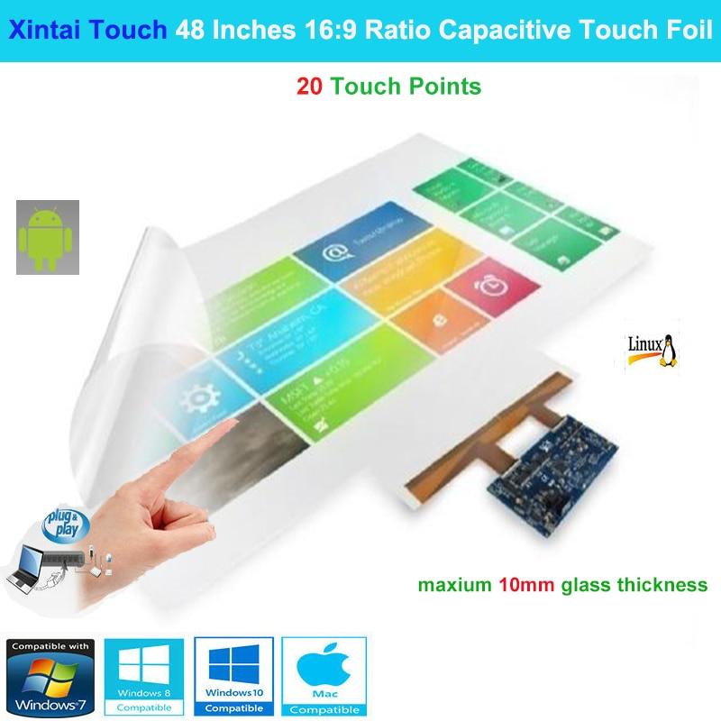 Xintai Touch-شاشة تعمل باللمس مقاس 48 بوصة ، 16:9 ، نسبة 20 ، تفاعلية ، متعددة اللمس ، فيلم رقائق الألومنيوم ، التوصيل والتشغيل