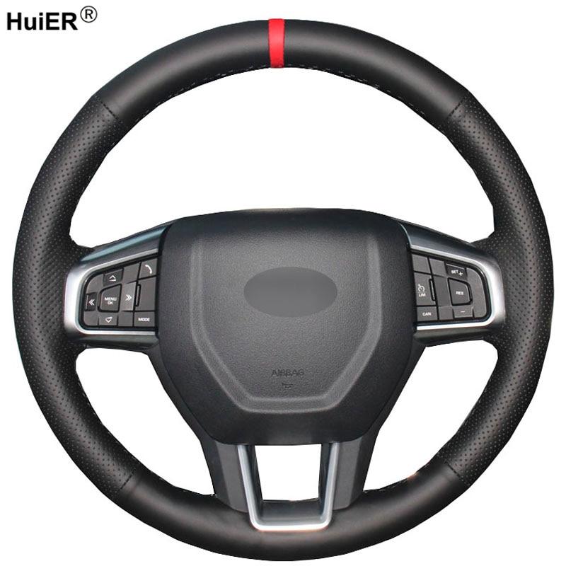 HuiER de coser a mano de Protector para volante de coche marcador rojo para Land Rover Discovery Sport 2015, 2016, 2017, 2018 del automóvil Protector