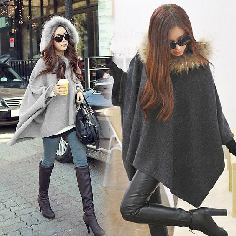 Capa de moda Ponchos, capa con mangas de murciélago de otoño para mujer, abrigo largo de lana con capucha de invierno para mujer, abrigo informal de alta calidad Laipelar