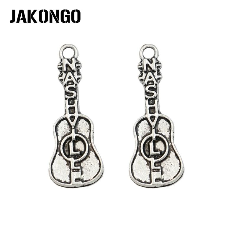 JAKONGO Tibetan Silver Plated Nashville Guitar Charms Pendant for Jewelry Making Bracelet Accessories DIY 28x10mm 20PCS/lot