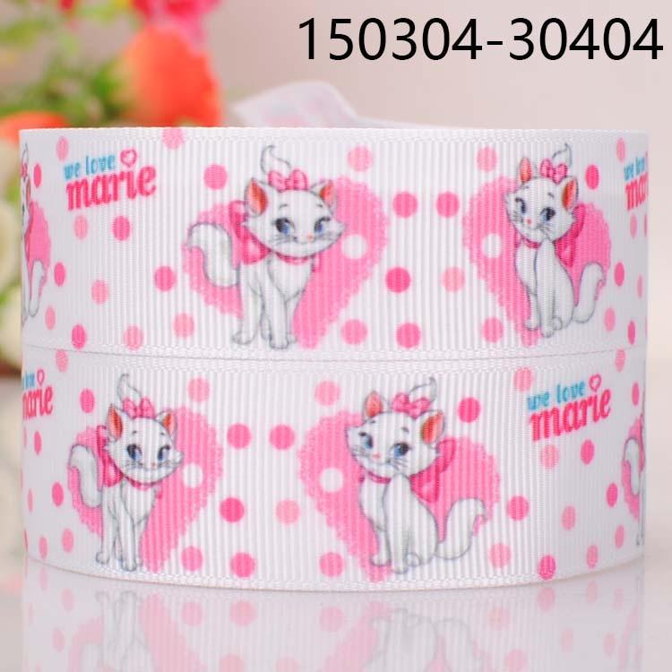 "5yards 7/8 "" 22 mm Marie cat dots print cartoon grosgrain ribbon tape DIY handmade hairbow ribbon free shipping"