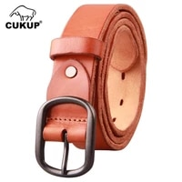 cukup ladies 100 cow cowhide leather fashion belt pin buckle casual designer belts 2018 women high quality 3 3cm width nck448