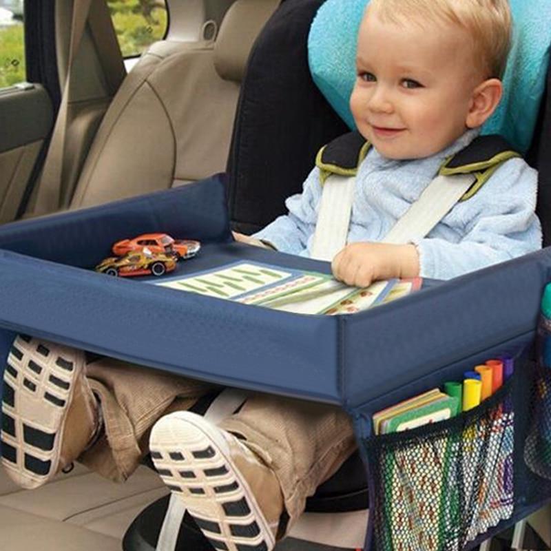 Asiento de coche, bandeja para bebé, carrito de juguete para niños, soporte de agua para alimentos, escritorio impermeable para niños, mesa portátil para coche, nueva mesa de almacenamiento para niños