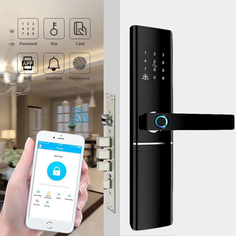 Promo Biometric Fingerprint Lock Electronic Security Door Lock Smart Bluetooth app WiFi Password IC Card Key Knob locks