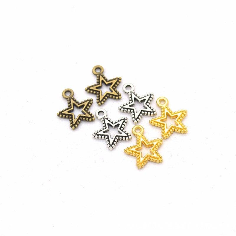 50 Uds. Colgante de Meta estrella plateada tibetana Vintage de 17x15mm Ajuste de collar pulsera pendientes accesorios DIY joyería hallazgos