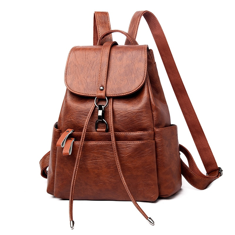 Luxury Designer Women Pu Leather Backpack High Quality Large Capacity Ladies Shoulder Laptop Bag Fashion Female Travel Backpacks