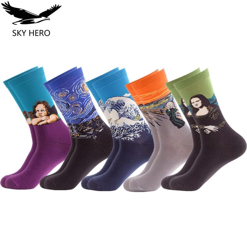 5 paare/los Männer Socken Lange Baumwolle Happy Sock Männer Lustige Kunst Kleid Socken Farbe Crew Männer der Mode Set Druck van Gogh Kunst Socken