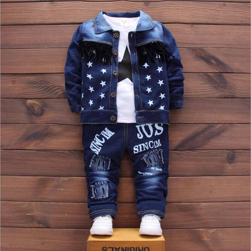 2018 джинсовая куртка для маленьких мальчиков, комплекты одежды, детские штаны с дырками для девочек + пальто + футболка, повседневные модные с...