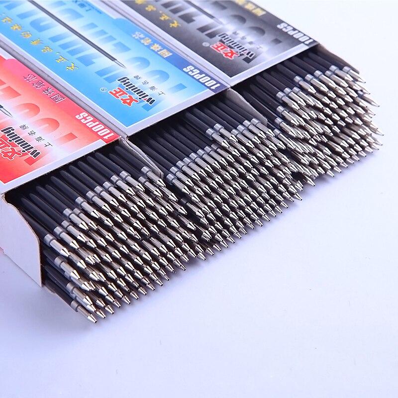 Lote de 100 unidades de bolígrafo de 0,7mm, recarga negro, rojo, azul, 3 colores, bolígrafos de escritura, recargas de bolígrafo de alta calidad