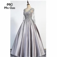 womens evening dresses long with appliques lace v neck satin a line formal beaded prom dress for women 100 real sample