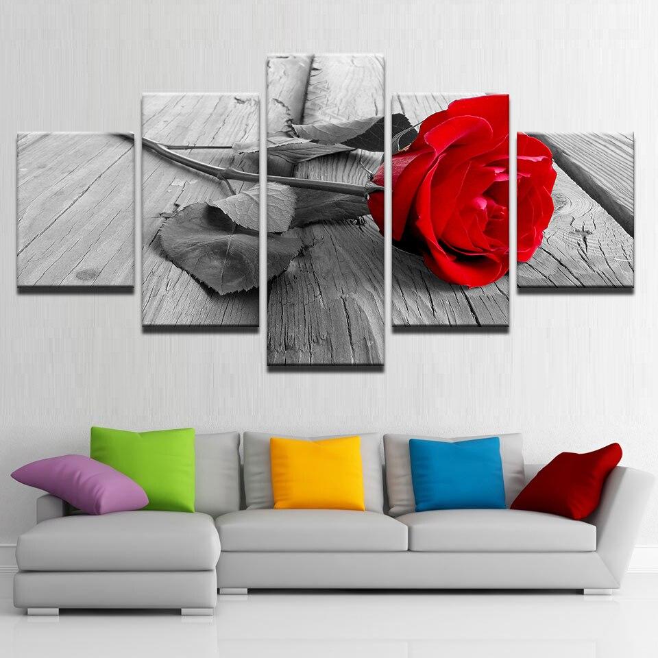Cuadros en lienzo, impresiones de alta definición, marco de 5 piezas, hermosos pósteres de rosas rojas, fondo blanco y negro, imágenes de flores