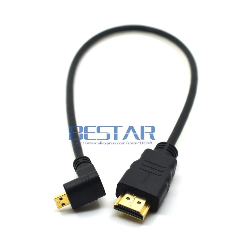Codo de ángulo Micro HDMI (tipo D) A HDMI (tipo A) Cable 30cm 1 pie chapado en oro 3D 4K 1080p MicroHDMI Audio para Tablet Cámara