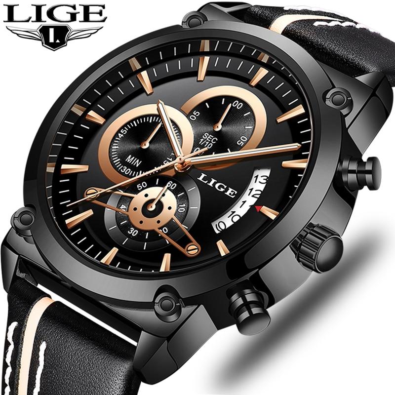 Relojes de pulsera de marca LIGE de moda nuevo calendario de llegada relojes casuales de hombre de alta calidad de cuero cronógrafo reloj de cuarzo regalo