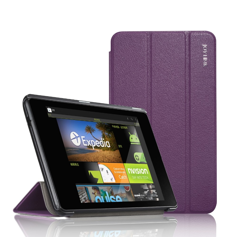 protective rotation pu leather case for google nexus 7 purple For Google Nexus 7 2nd 2013 PU Leather Case Joylink Folding Folio Tablet Protective Cover Auto Sleep Wake