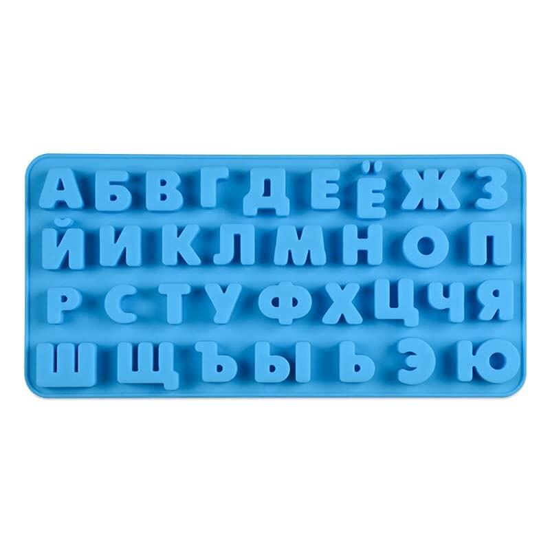 Rectángulo alfabeto ruso, molde de silicona para letras Fondant Chocolate molde de torta cocina pasteles dulces decoración fabricación de herramientas