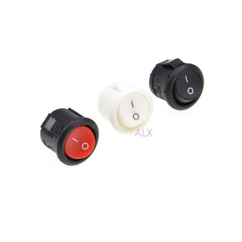 10PCS 15MM 16MM קוטר 2PIN אדום לבן שחור מיני עגול לדחוף כפתור מתג הפעלה/כיבוי סירת כוח מתגי 3A/250V 6A/125V