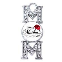 공장 직접 판매 해피 어머니의 날 장미 꽃 엄마 크리스탈 펜던트 어머니 보석 만들기 액세서리 사용자 정의 디자인 대량
