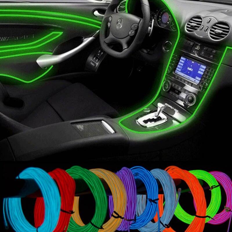10 цветов, выбранный 5 м, с автомобильным контроллером 12 В, декоративная светодиодная нить, наклейка, аксессуар, гибкий неоновый светильник, EL провод, веревка, трубка