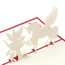 Cartes de vœux Pop Up en papier 3D   Cartes de vœux découpées au Laser, cartes postales créatives danniversaire de cheval et dange faites à la main pour amoureux, cartes de remerciement
