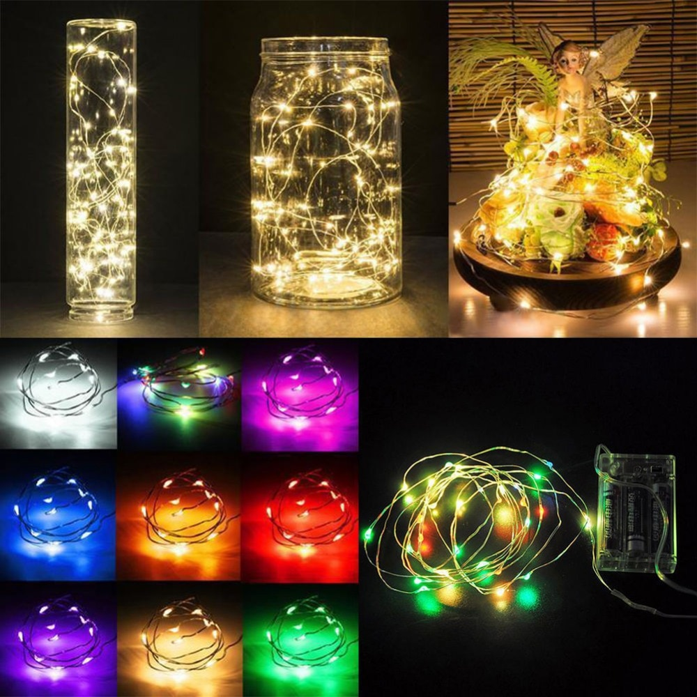 led strip 5m 10m led fairy light string outdoor garland christmas wedding party decoration usb battery operated silver copper 5M 50 LED Battery Operated LED Copper Wire String Lights for Xmas Garland Party Wedding Decoration Christmas Fairy Lights