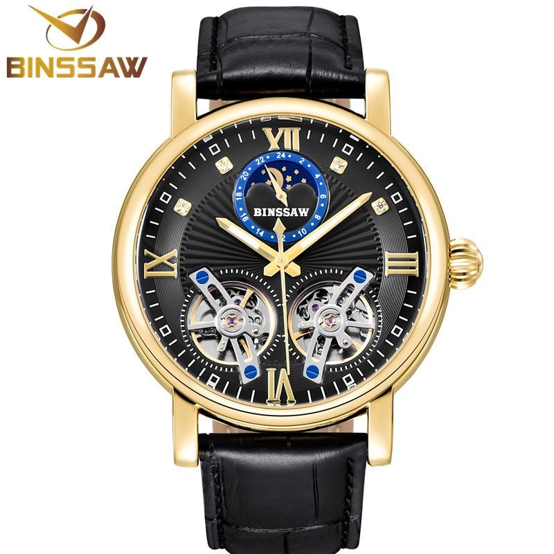 BINSSAW, nuevo reloj mecánico automático para hombre, marca de lujo, doble Tourbillon de cuero, relojes deportivos impermeables, Relogio Masculino