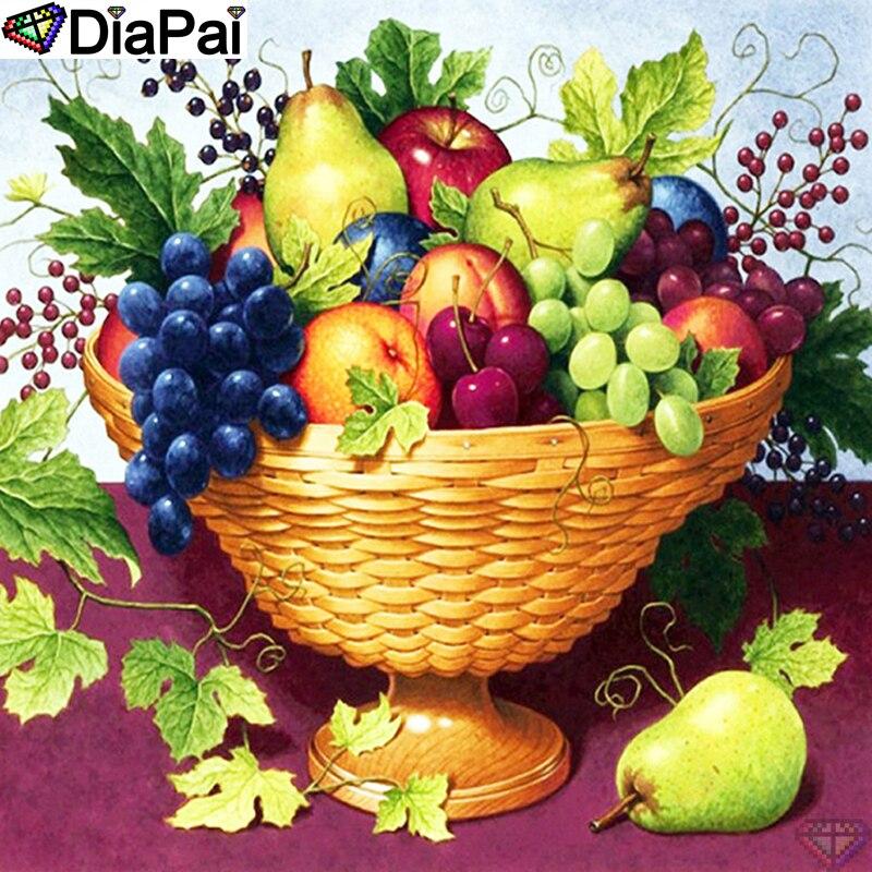 DiaPai panier de fruits bricolage   Peinture diamant, 5D bricolage 100% perceuse carrée/ronde,