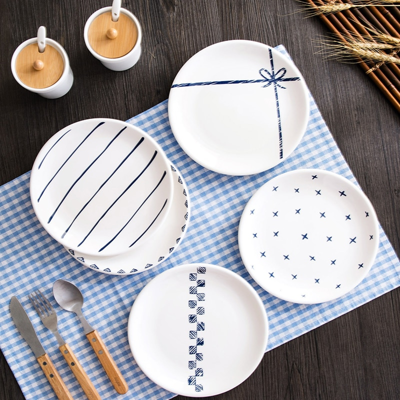 Plato de cerámica nórdica, plato creativo con patrón geométrico para desayuno, plato de postre, plato de aperitivos, apto para tienda de postres familiar