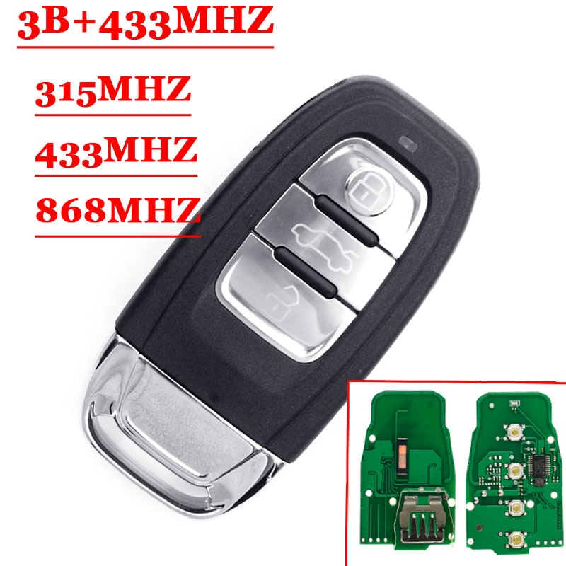 Carte intelligente de voiture à 3 boutons   Livraison gratuite, télécommande, pour Audi A4 S4 A5 S5 Q5 PCF7945A, 315/433/868Mhz 8T0959754C 8, 1 pièce