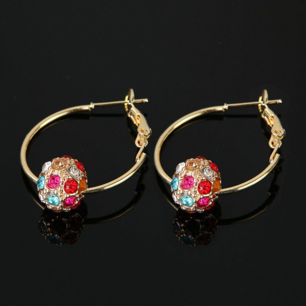 Fesyen bola kristal Austria anting-anting emas / perak berkualiti - Perhiasan fesyen - Foto 4