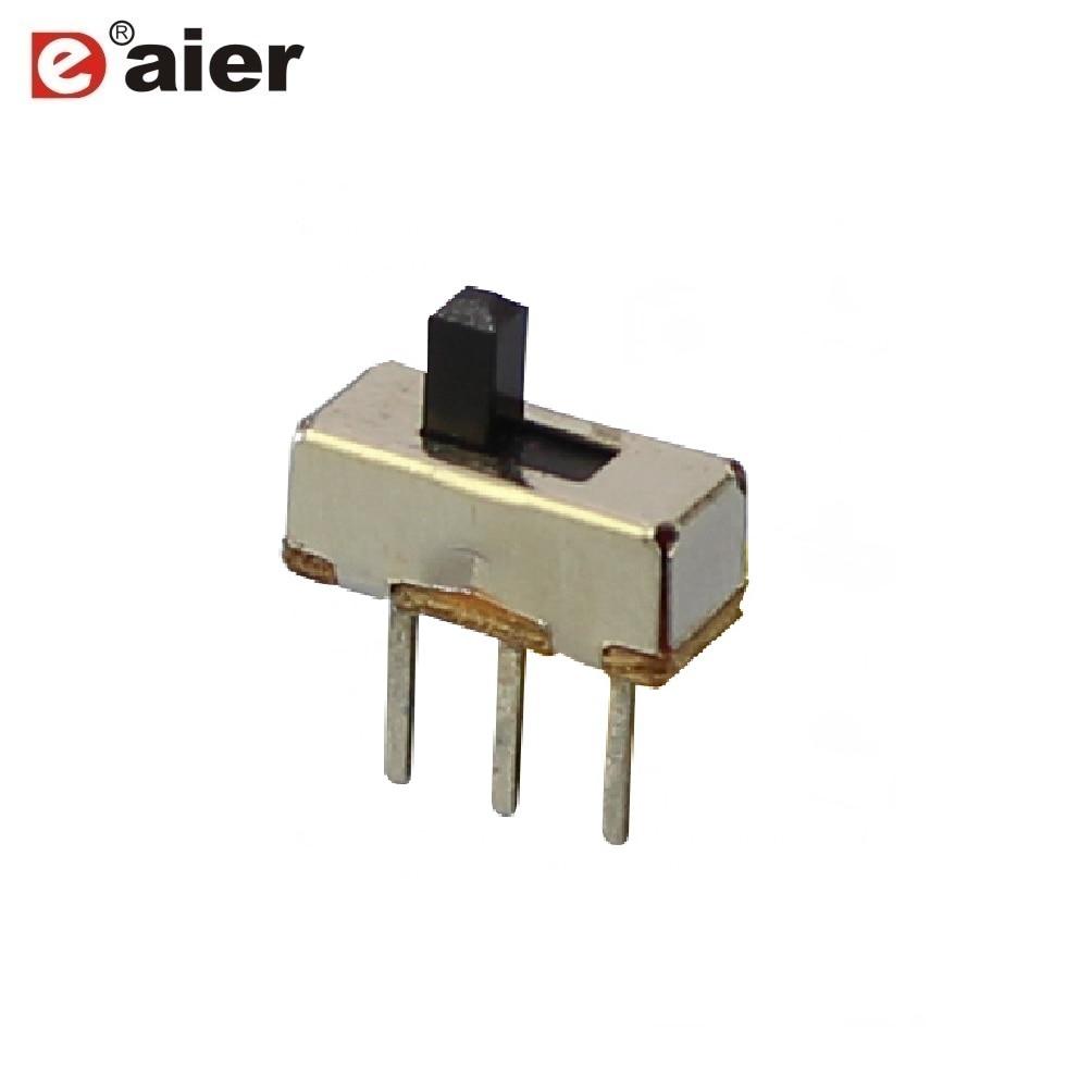 Interruptor deslizante 1000 Uds 1P2T SPDT SS-12D00 mango deslizante de 3mm de altura 3 pines ON-ON 2 posiciones con Panel PCB Mini interruptor de palanca Vertical