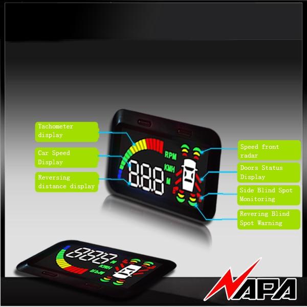 Auto Blindzone Erkennung kit mit HUD mit 4 frontstoßstange sensor mit 2 BSD abdeckt spiegel blinden fleck