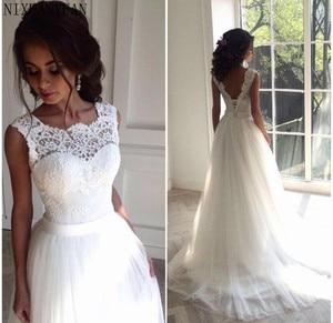 Robe De Mariage Lace up Princess Real Wedding Dress 2021 High Neck Muslim Layers A-line Weddding Dresses Vestido De Noiva