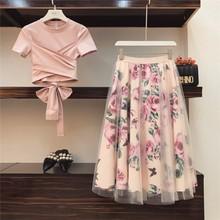 Summer 2019 Women Irregular T Shirt+Mesh Skirts Suits Bowknot Solid Tops Vintage Floral Skirt Sets for Elegant Woman