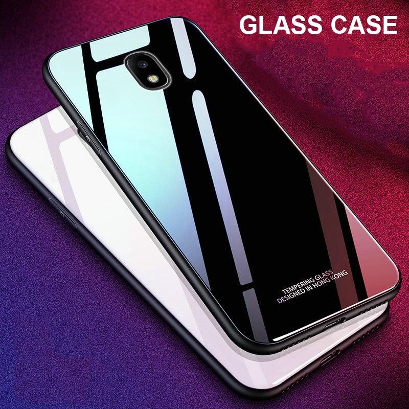 For Samsung Galaxy J5 2017 Case J3 J7 Pro Luxury Tempered Glass Cover Hard Phone Case for Samsung Galaxy J4 J6 J7 J8 2018