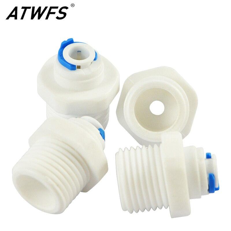 Atwfs 2 pces thread 1/2 polegada fora da volta do fio 1/4 polegada rápido conectar para ro água sistema de osmose reversa filtre 1/4 pouces