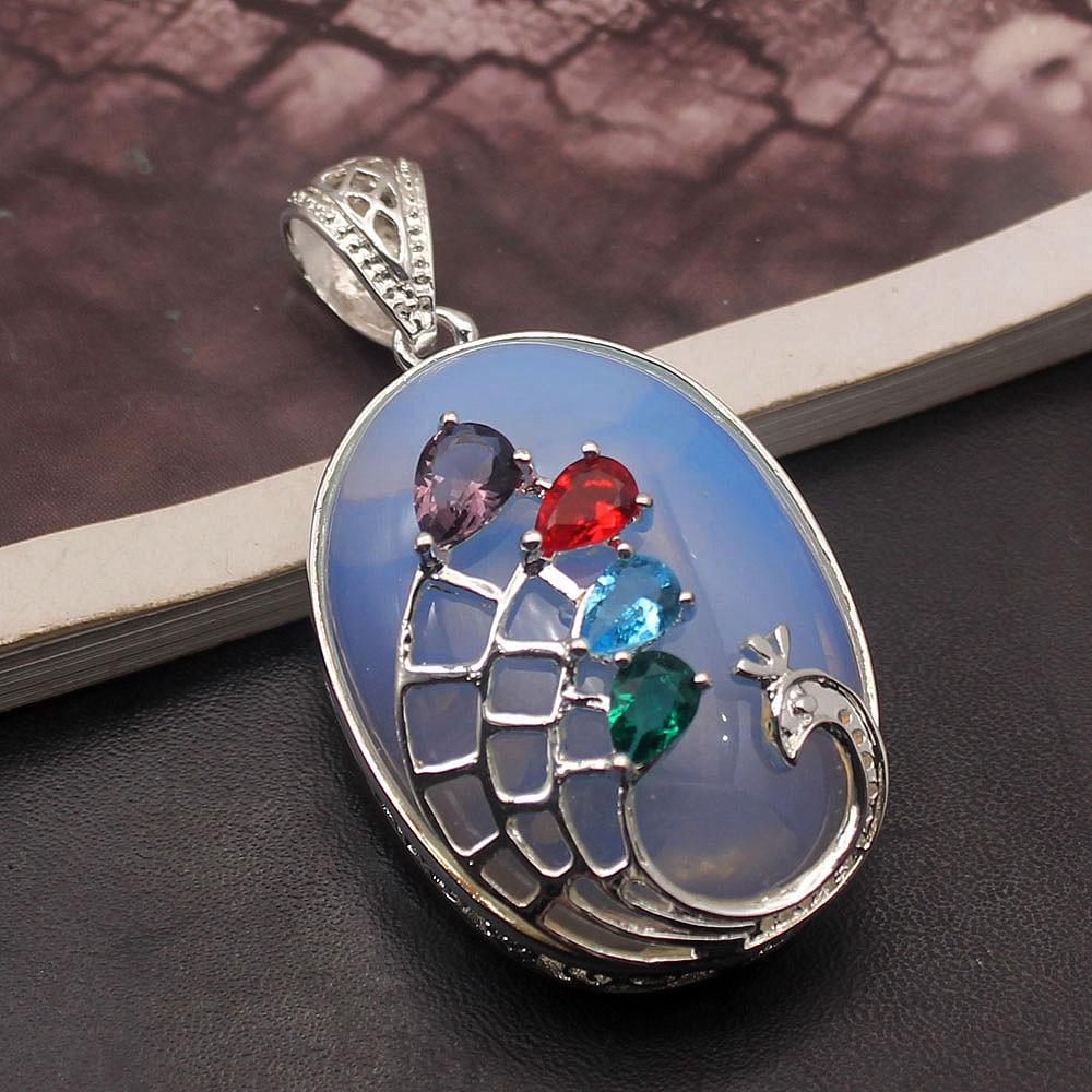 Hermosa piedra mística ópalo granate amatista joyería de moda COLLAR COLGANTE 2 1/4 pulgadas A263