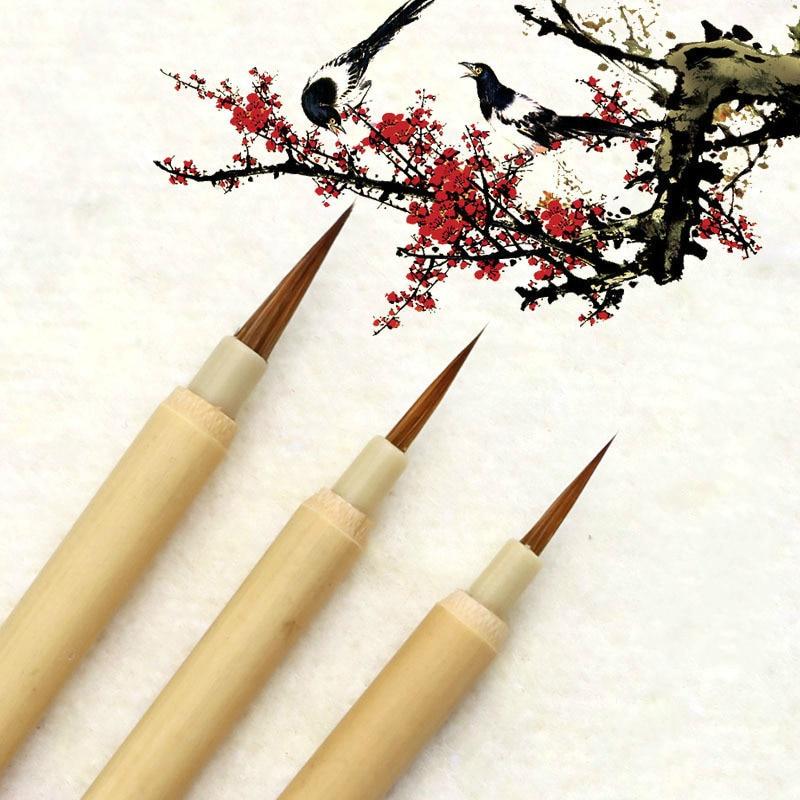 Chinois naturel bambou calligraphie stylo brosse paysage aquarelle contour stylo brosse écriture régulière Script Bursh 3 pièces