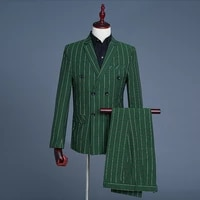 2019 new mens green casual plaid groom double breasted performence suit 3 piece suits men coat pant vest green grey men clothes