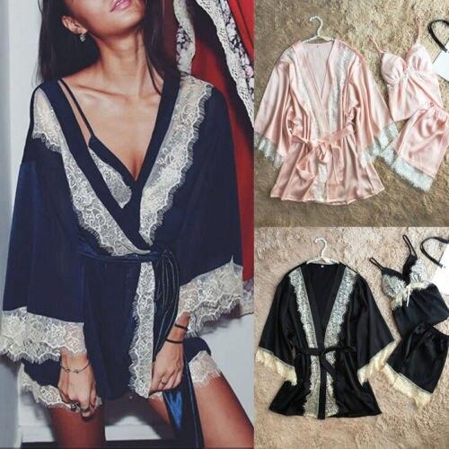 3PCS Women Lace Night Dress Silk Satin Pajama Sleepwear Robes Nightwear Gown