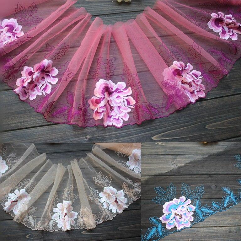 22cm 8,66 pulgadas wide-3yards/lote Diy artesanía bordado floraltul encaje Trim, malla bordado encaje Trim