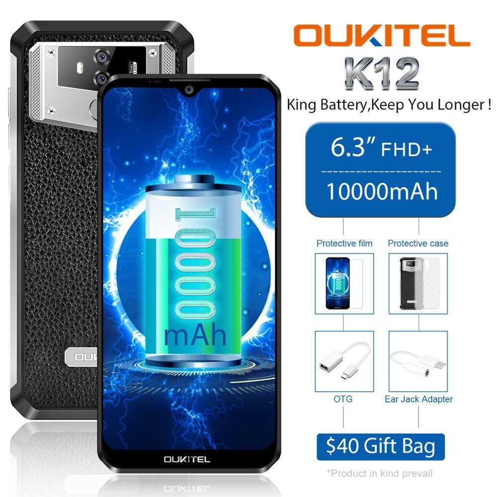 Перейти на Алиэкспресс и купить OUKITEL K12 5V 6A смартфон на Android 9,0 мобильный телефон 6,3 ''19,5: 9 MTK6765 6G RAM 64G ROM NFC 10000mAh Quick Charge Fingerprint