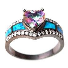 Mode 1 Pc Hoge Kwaliteit Bruiloft Birthstone Ringen Zwarte Meisjes Dazzling Heart 5-11 Size Vrouwen Kristal Ringen Vrouwelijke sieraden Gift