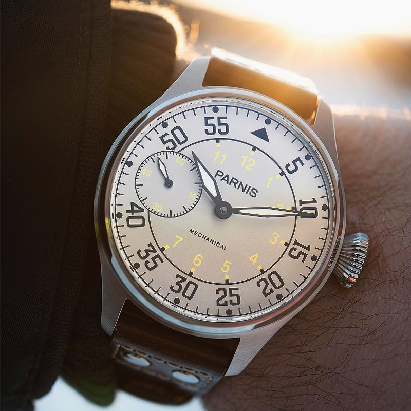 Parnis 44mm Hand Winding Mechanical Mens Watches Silver Case Hand Wind Men's Watch Top Luxury Brand 2019 Man Clock zegarek meski