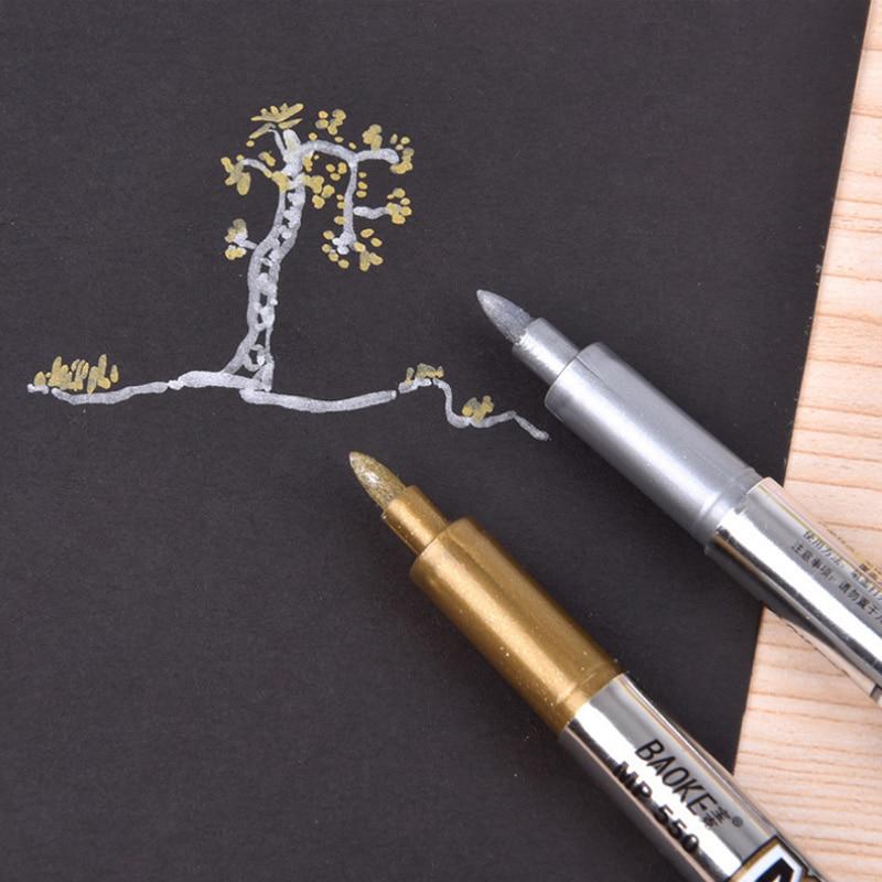 1 X Simple Metallic Color Pen Diy Album Scrapbooking Invitation Card Photo Marker Pen Office Stationery Practical School Supply